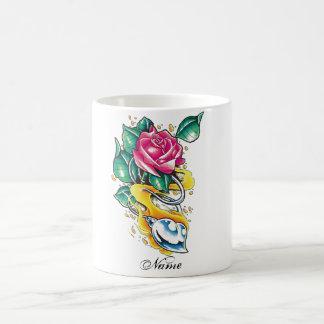 Cool Metallic Heart and Rose tattoo mug