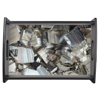 Cool Metallic Mirror Look Iron Pyrite Cube Cluster Serving Tray