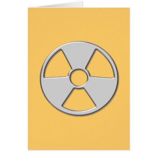 cool metallic radioactive radiation symbol greeting cards