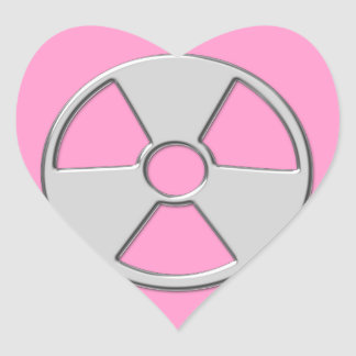 Cool Metallic Radioactive Radiation Symbol Heart Sticker