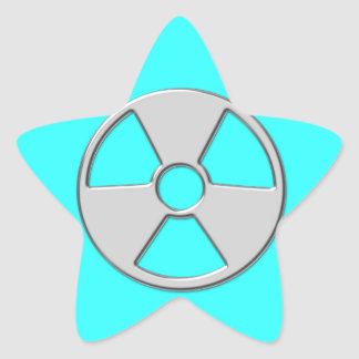Cool Metallic Radioactive Radiation Symbol Star Sticker