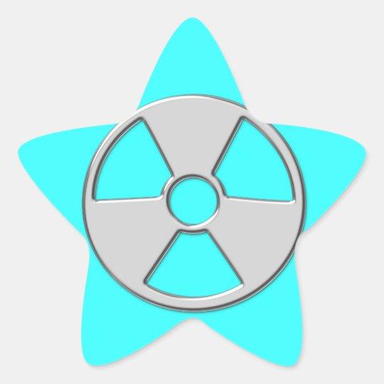 Cool Metallic Radioactive Radiation Symbol Star Sticker