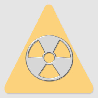 Cool Metallic Radioactive Radiation Symbol Triangle Sticker
