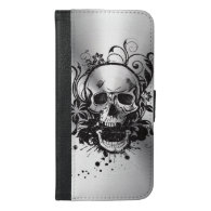Cool Metallic Sketch Skull Swirl Flowers Manly