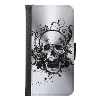 Cool Metallic Sketch Skull Swirl Flowers Manly Wallet Phone Case For Samsung Galaxy S6