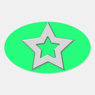 Cool Metallic Star Design Silver Oval Sticker