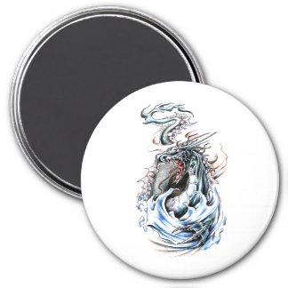 Cool Middle Age Water Green Dragon tattoo 3 Inch Round Magnet