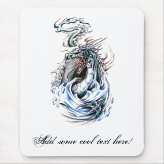 Cool Middle Age Water Green Dragon tattoo Mouse Pad