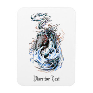Cool Middle Age Water Green Dragon tattoo Rectangular Photo Magnet