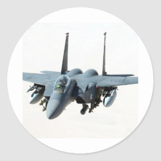 cool military aircraft helicopter Black-Hawk  f-15 Classic Round Sticker