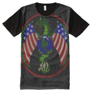 Cool Military Dragon Symbol Shield Custom All-Over-Print Shirt