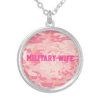 Cool Military Wife Pink Camo Pattern Custom Word Silver Plated Necklace