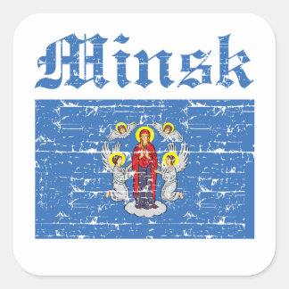 Cool minsk city flag designs square sticker