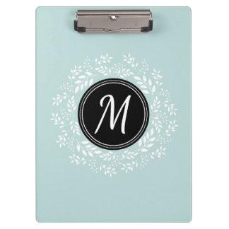 Cool Mint Blue Floral Wreath Custom Monogram Clipboard