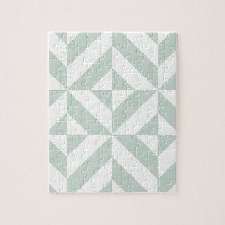Cool Mint Geometric Deco Cube Pattern Jigsaw Puzzle