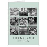 Cool mint grid collage 9 photos memories thank you greeting card