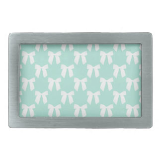 Cool Mint Pastel With White Bows Rectangular Belt Buckle