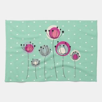Cool Mint  Polka Dots ,Simplistic Flowers Hand Towel