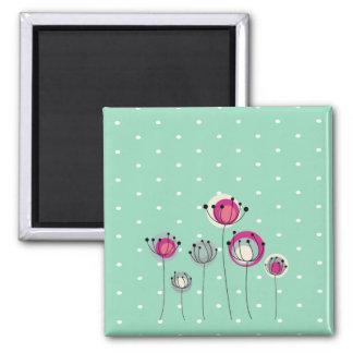 Cool Mint  Polka Dots ,Simplistic Flowers Magnet