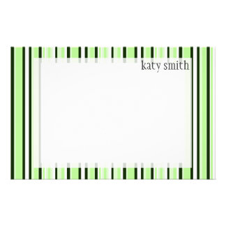Cool Mint Striped Personalized Stationery