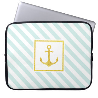 Cool Mint White Stripes Golden Anchor Laptop Sleeve