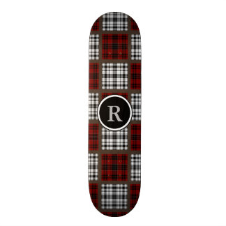 Cool Mixed Plaids Red Black & White Skateboard Deck