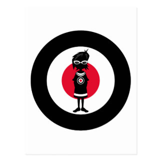 Cool Mod Girl and Roundel Target in Silhouette Postcard