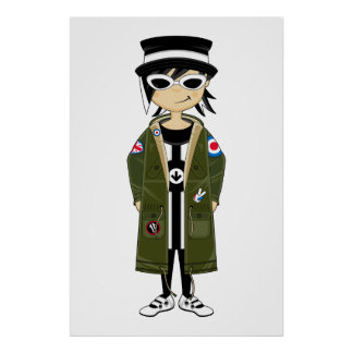 Cool Mod Girl in Hat and Parka Framed Print