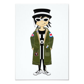 Cool Mod Girl in Hat and Parka RSVP Card