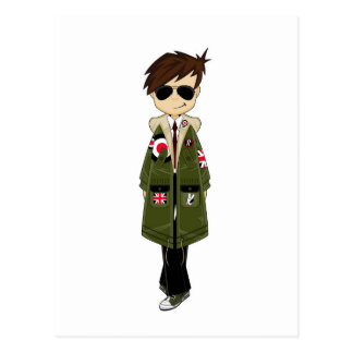 Cool Mod in Parka and Sunglasses Postcard