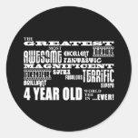 Cool Modern 4th Birthdays : Greatest 4 Year Old Round Stickers