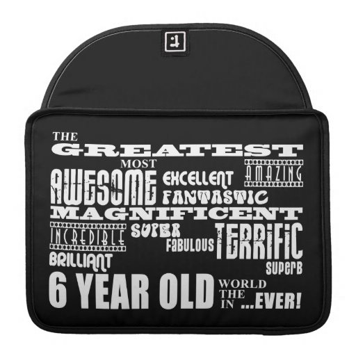 Cool Modern 6th Birthday Party Greatest 6 Year Old MacBook Pro Sleeves