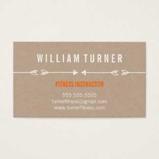 COOL MODERN ARROW simple sketch trendy eco kraft Business Card