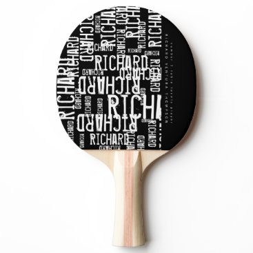 font themed cool / modern b/w table-tennis-paddle with name Ping-Pong paddle