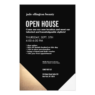 Cool Modern Black and Gold Hair Salon Open House Flyer