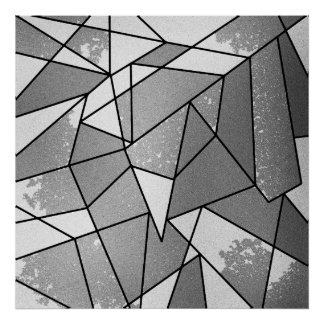 Cool Modern Black and Gray Distressed Geometric Poster