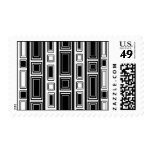 Cool modern black and white rectangle design postage