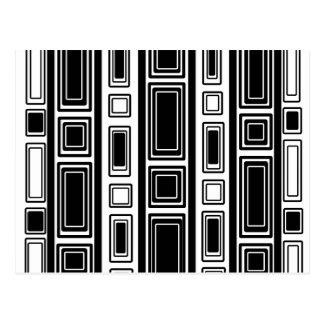 Cool modern black and white rectangle design postcard