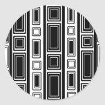 Cool modern black and white rectangle design classic round sticker
