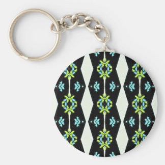 Cool Modern Black White Teal Pattern Keychain