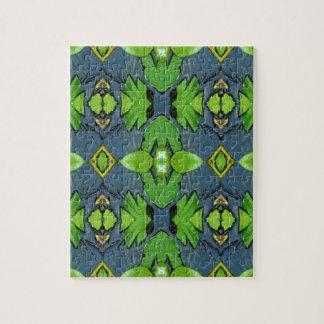Cool Modern Blue Green Tribal Pattern Jigsaw Puzzle