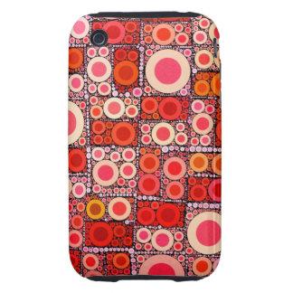 Cool Modern Circle Orange Red Mosaic Tile Tough iPhone 3 Cover