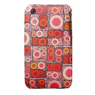 Cool Modern Circle Orange Red Mosaic Tile Case-Mate iPhone 3 Case