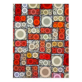 Cool Modern Circle Orange Red Mosaic Tile Postcard