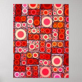 Cool Modern Circle Orange Red Mosaic Tile Poster