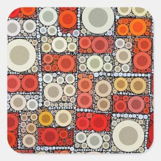 Cool Modern Circle Orange Red Mosaic Tile Square Sticker