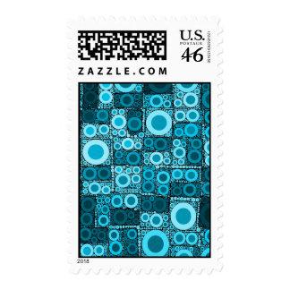 Cool Modern Circles Blue Teal Mosaic Tile Pattern Stamps