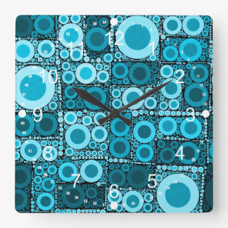 Cool Modern Circles Blue Teal Mosaic Tile Pattern Square Wall Clock
