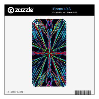 Cool Modern Colorful Neon Pattern Decals For The iPhone 4S