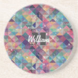 Cool modern colourful triangles geometric pattern drink coaster